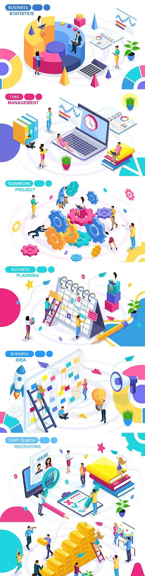 People business plan development isometric concept