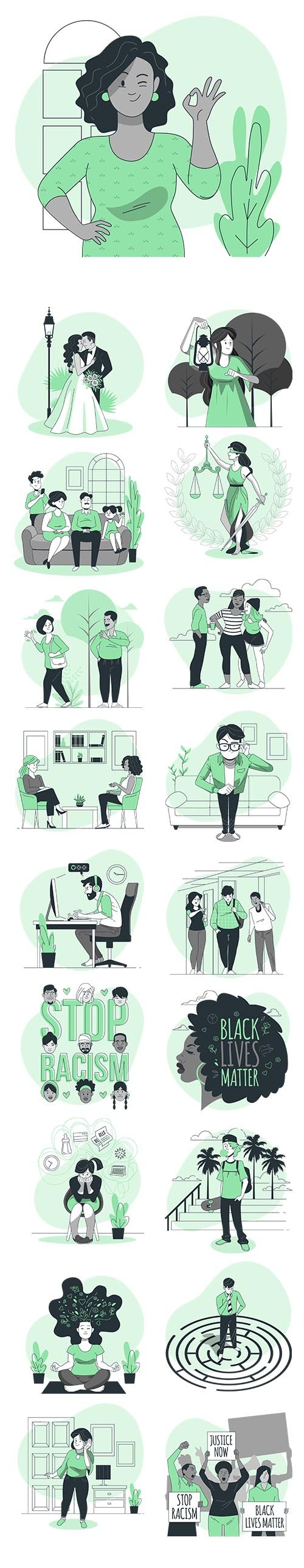 Vector Green Illustrations People Concept