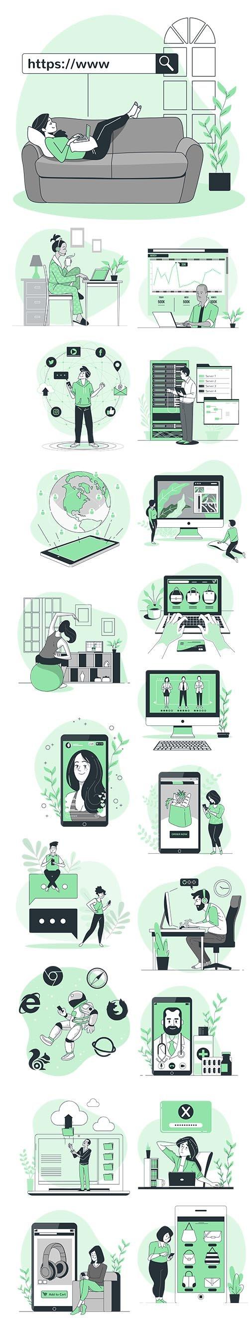 Vector Green Illustrations Online Concept
