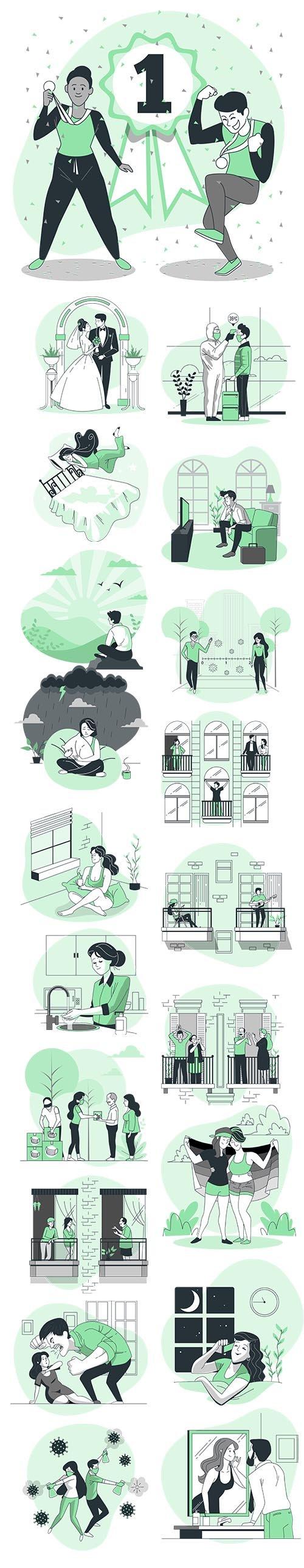Vector Green Illustrations People Concept Vol 2