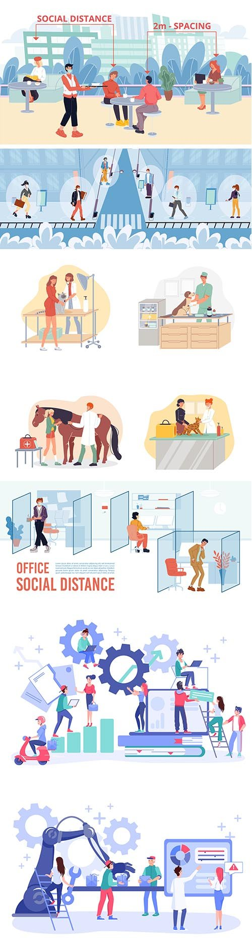 People on the different Situations Vector Illustration