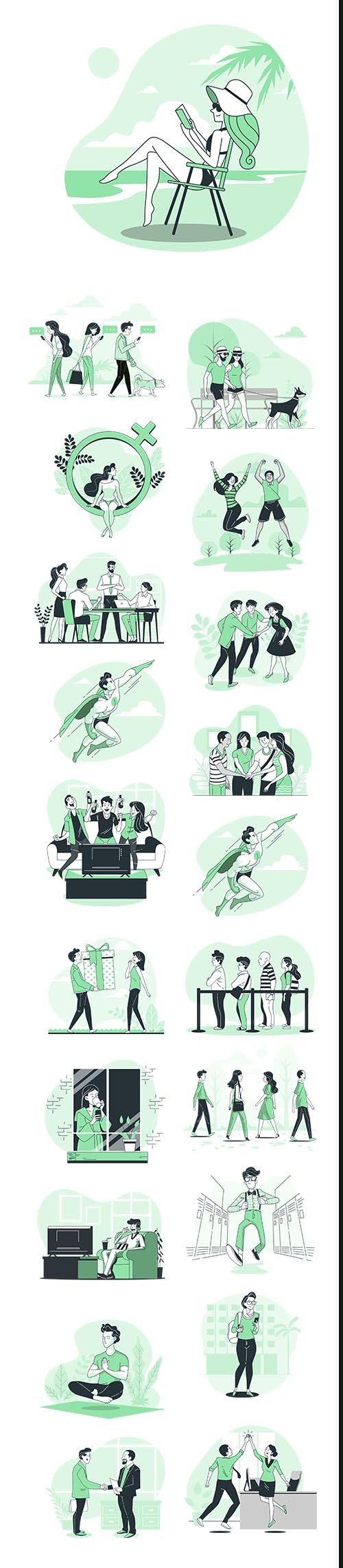 Vector Green Illustrations People Concept Vol 4
