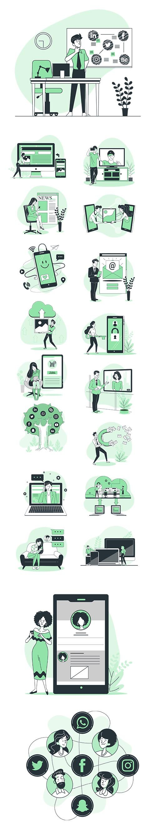 Vector Green Illustrations Online Concept Vol 2
