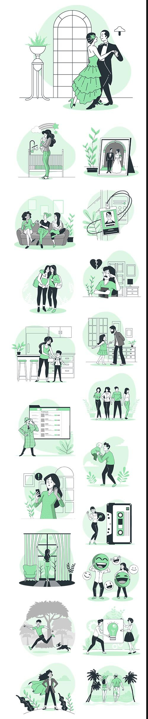 Vector Green Illustrations People Concept Vol 3