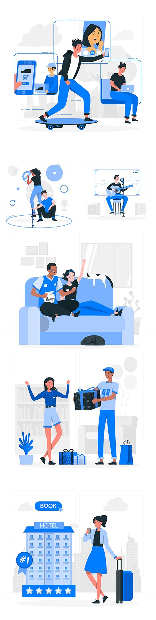 People and mobile lifestyle concept illustration flat design