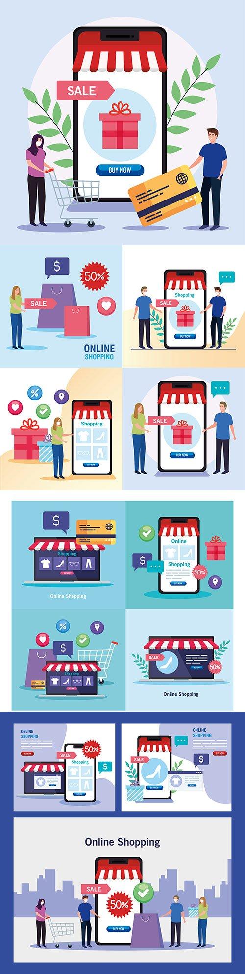 Shopping online e-commerce market and retail illustration