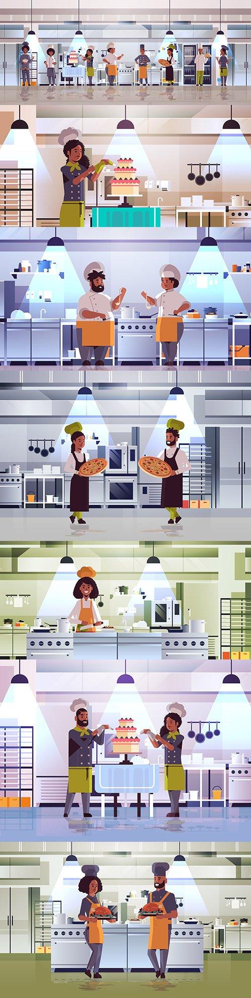 Chef tasting dishes modern cuisine interior flat design