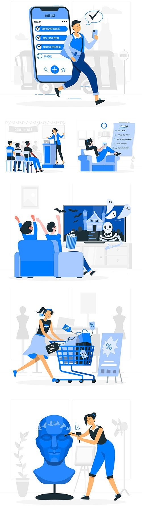 People and different lifestyles flat illustration concept