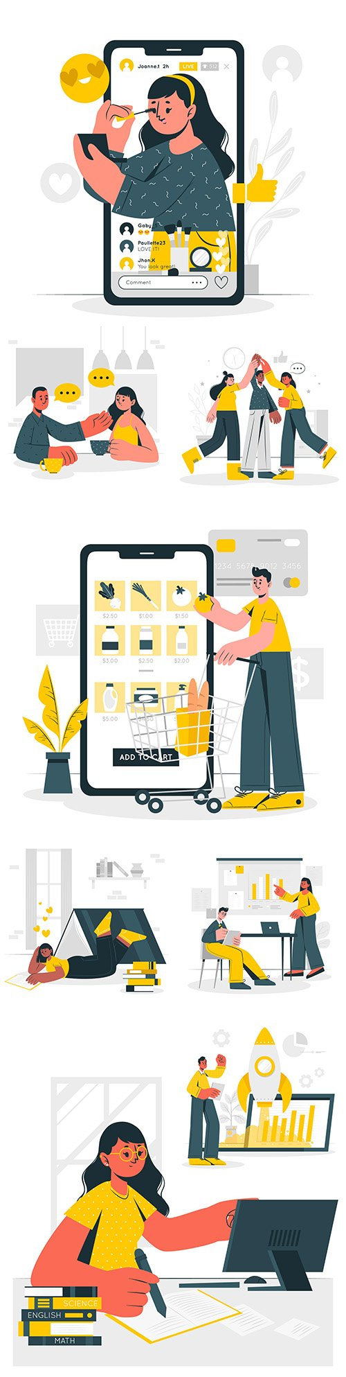 People online shop and learning concept illustration