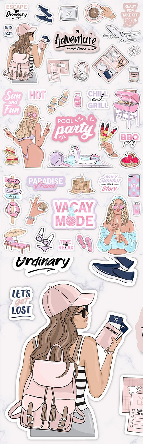 Stickers with young girl and modern accessories