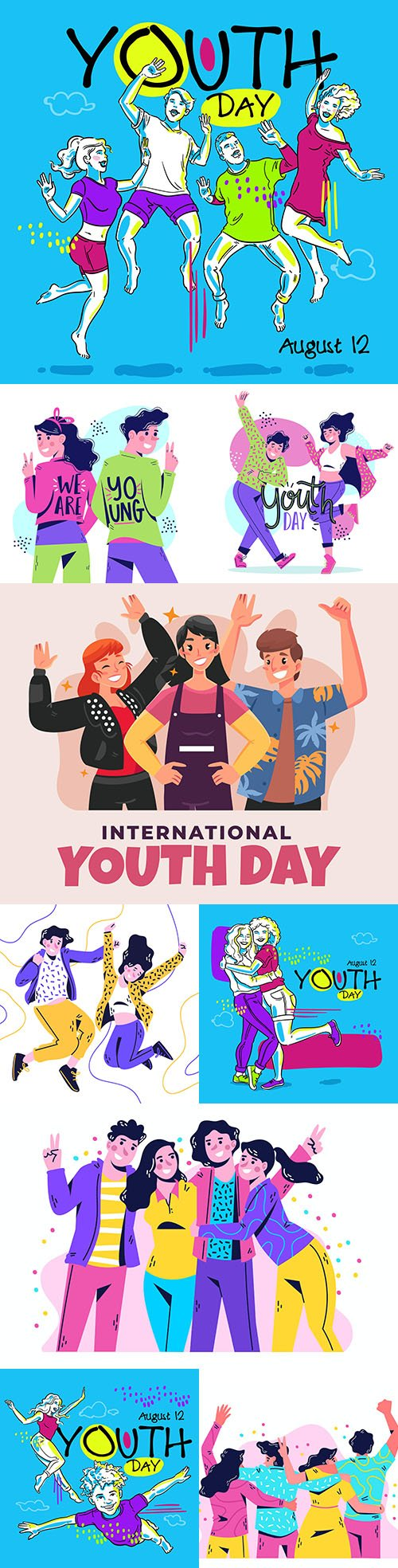 Youth Day people welcome and dance illustration
