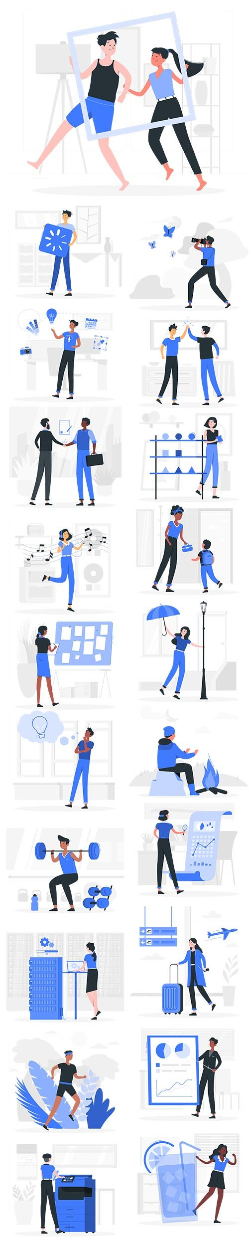 Vector Blu Illustrations People Concept Vol 3