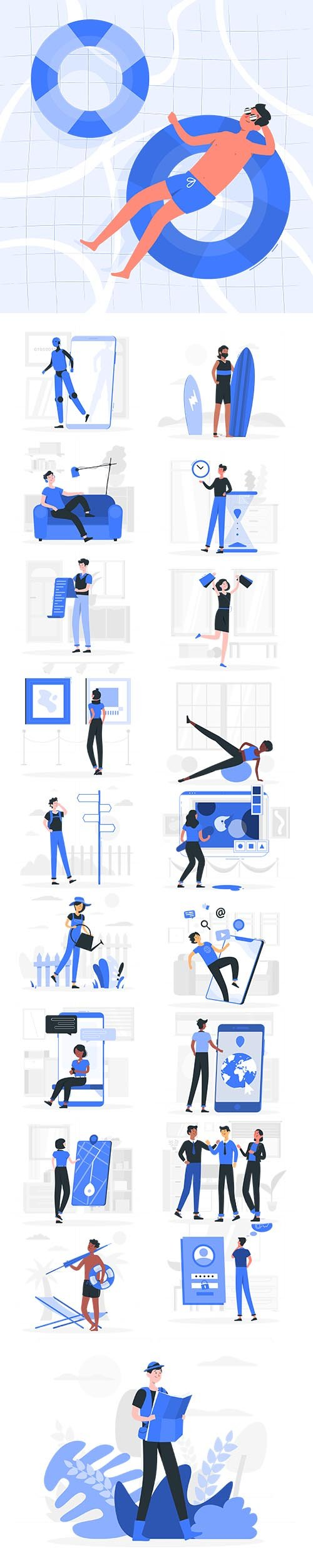 Vector Blu Illustrations People Concept Vol 4