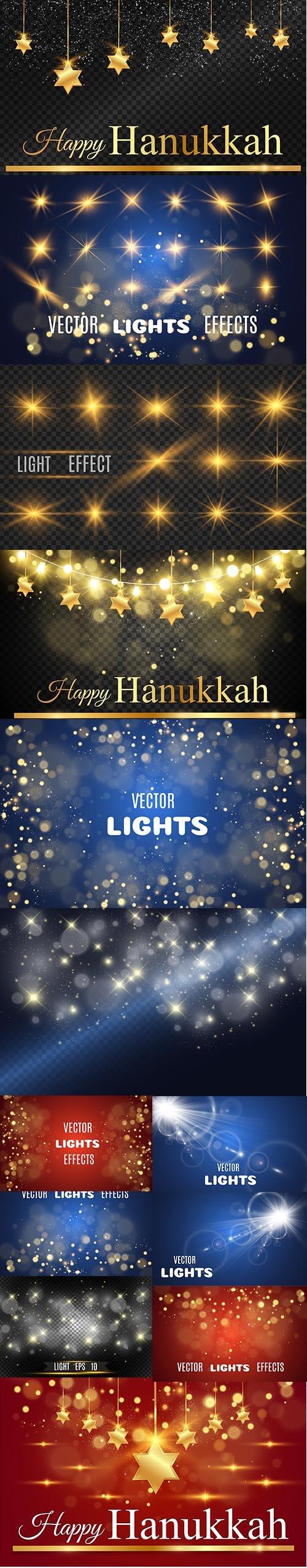 Hanukkah Background with Stars David and Bright Beautiful Stars Light