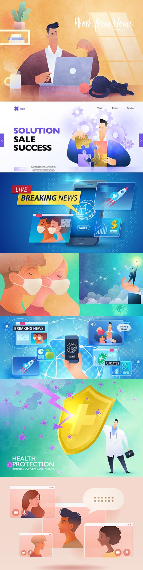 Health and Home Work, Business Concept Illustration