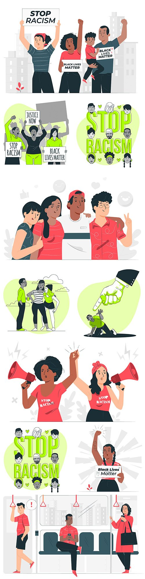 People protest against the racism concept of illustration