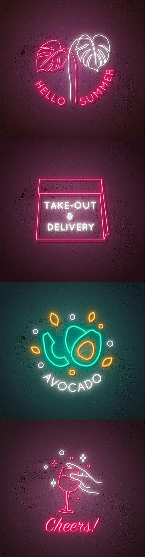 Neon Signboard Illustrations