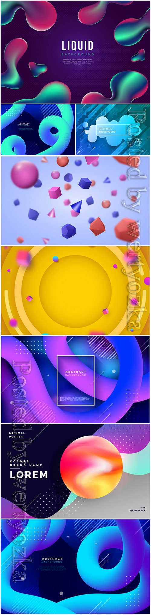 Abstract vector background with liquid shapes, 3d models template