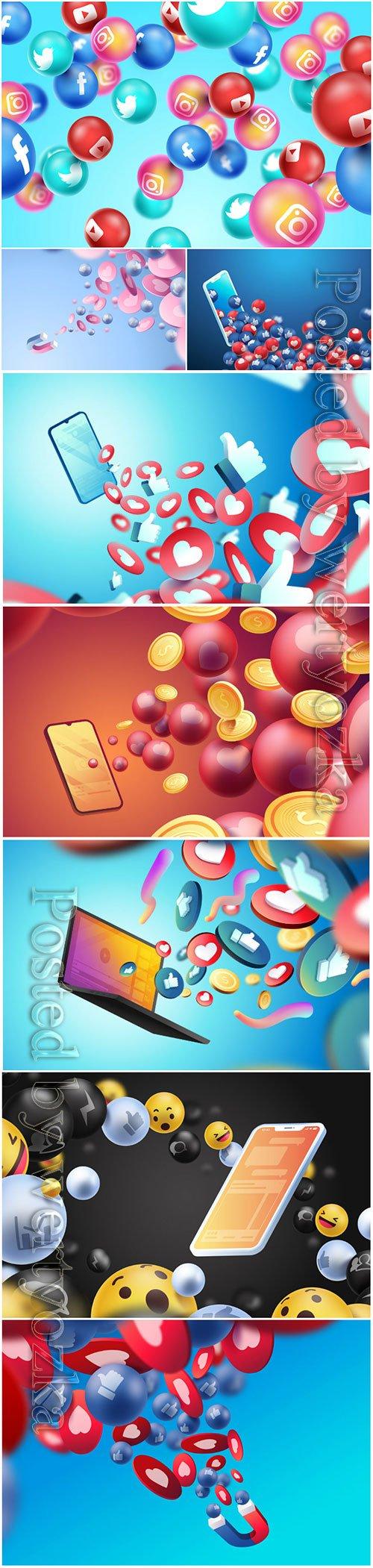 Social media 3d vector background