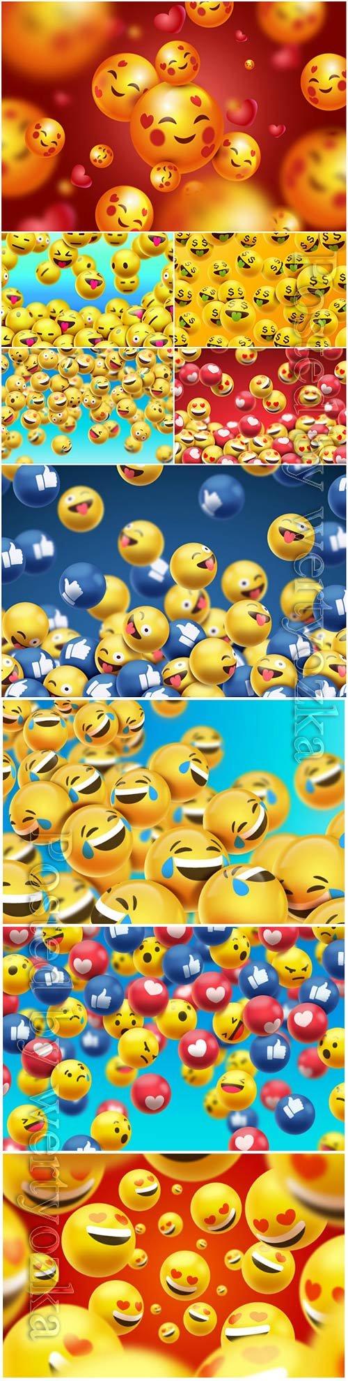 Emojis background realistic vector design