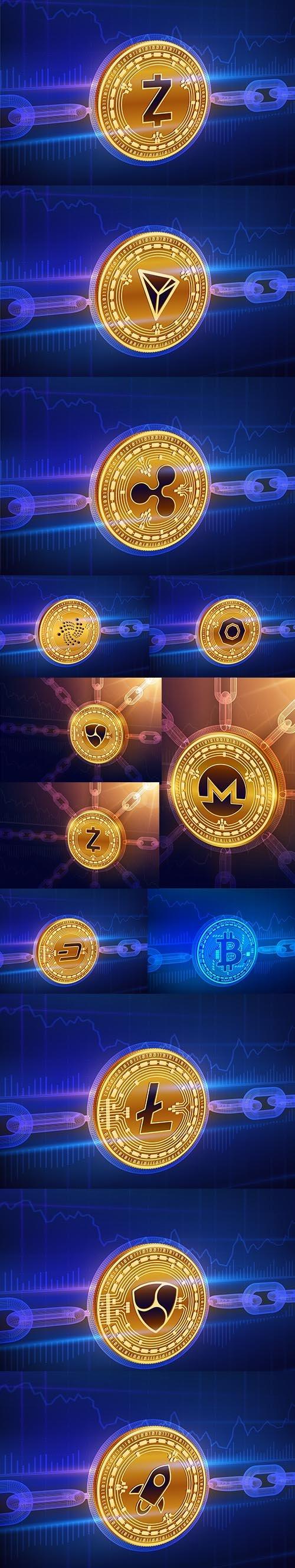 Physical Golden Coin Blockchain Concept