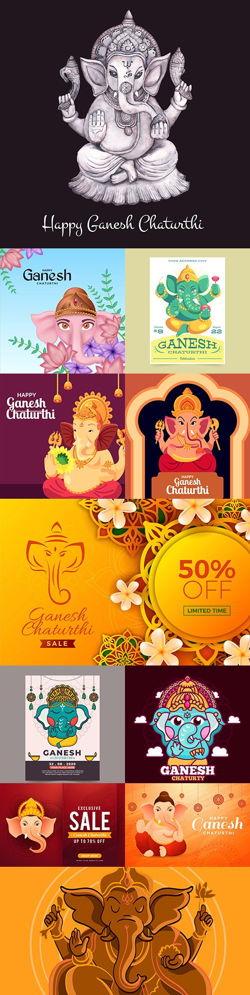 Ganesha Chaturthi Indian festival design illustration