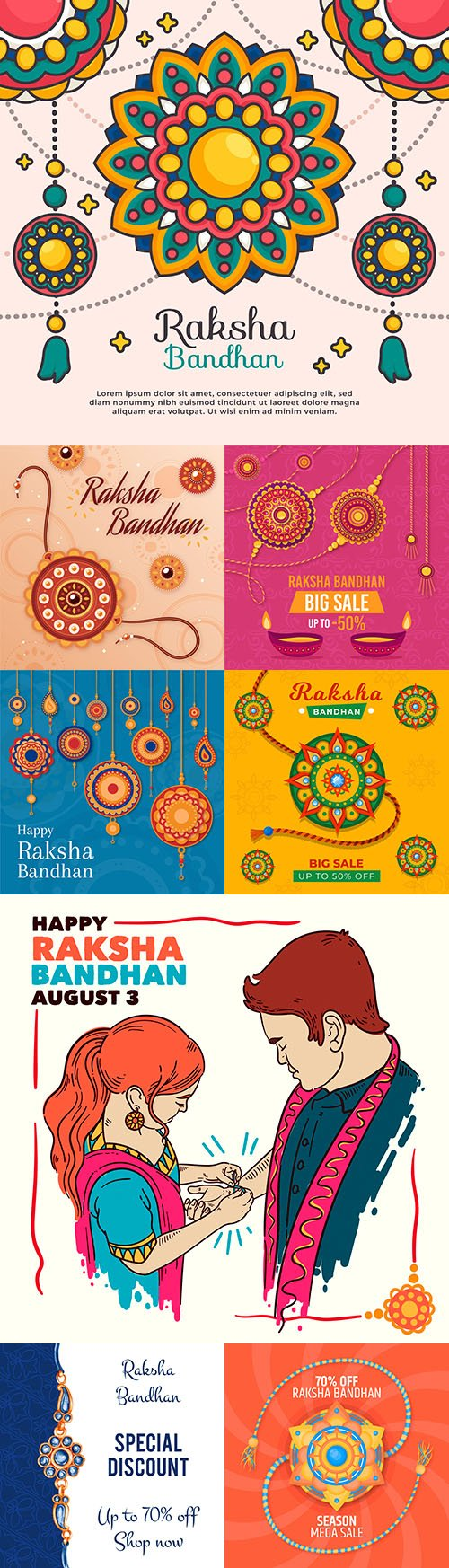 Raksha Bandhan Indian Holiday Flat Design Illustration