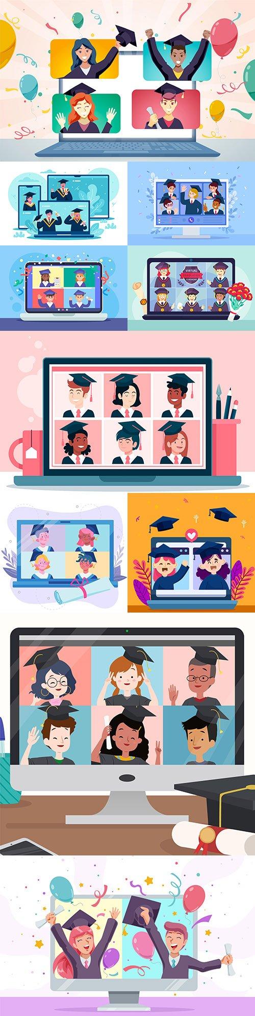 Virtual graduation award ceremony concept illustrations