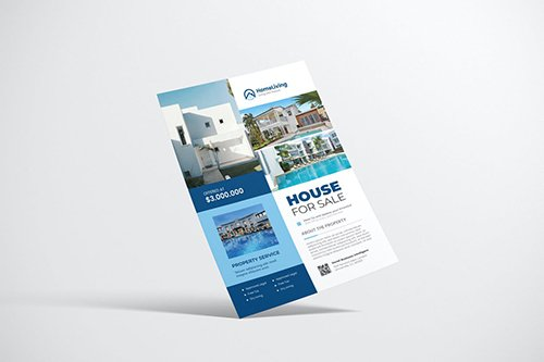 House Property Flyer Design with Blue Color
