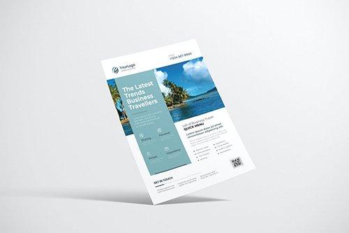 Travel Flyer Design with Light Blue Color