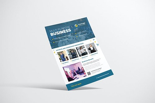 Business Event Flyer Design with Blue Color