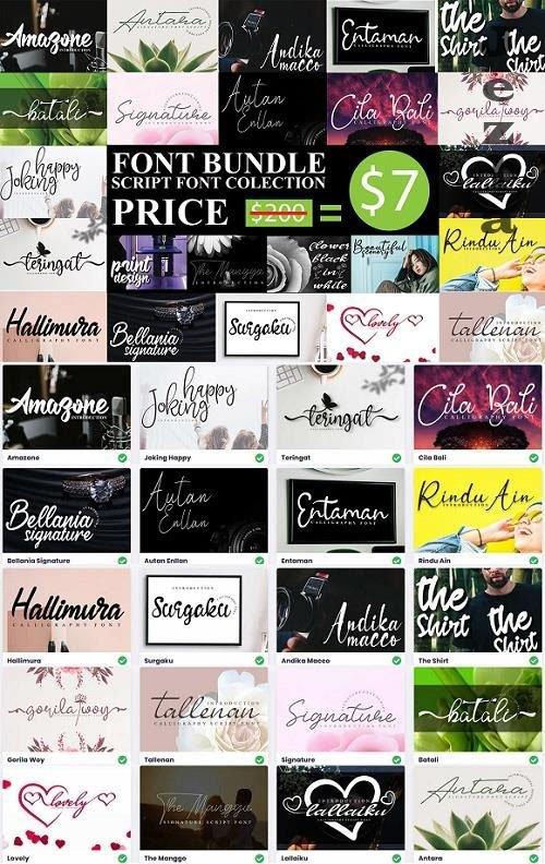 Script Font Collection - 20 Premium Fonts Bundle