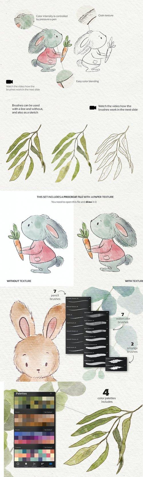 GraphicRiver - Watercolor & Pencil Procreate brushes 27044253
