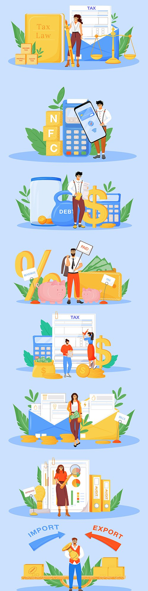 Tax payments and financial audit flat 2d illustration