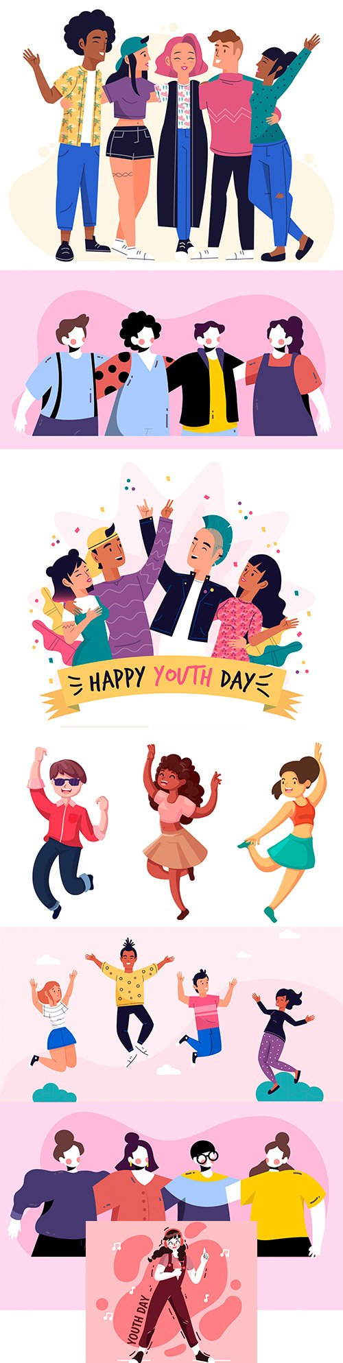 Youth Day with people hugging and jumping illustration