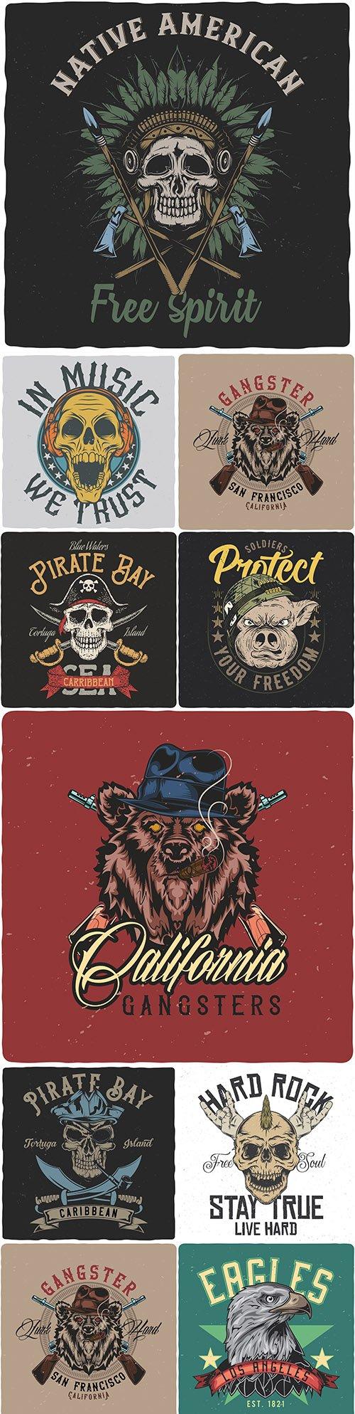 Gangster bear and vintage skull design emblems and illustrations