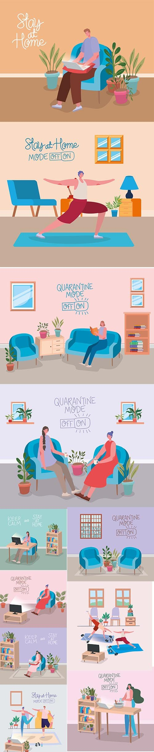 Home Activities Theme Illustration with Man a Woman