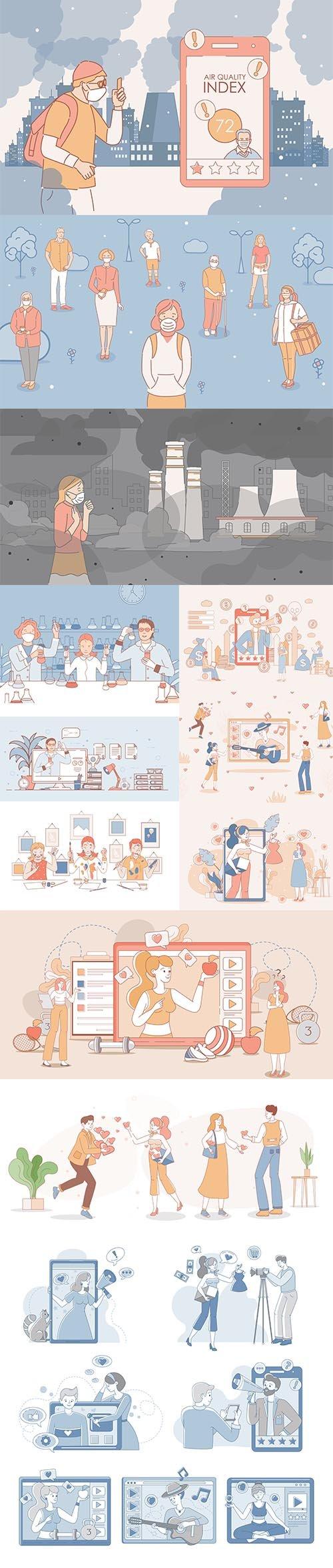 Paints People Cartoon Outline Illustration