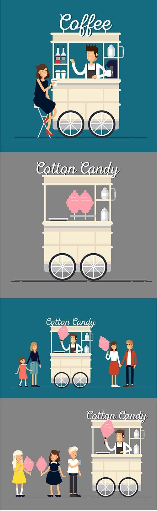 Creative Vector Detailed Street Cotton Candy Cart Shop