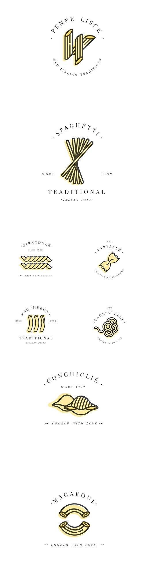 Design Template Emblem Vector Badge Italian Pasta Logos