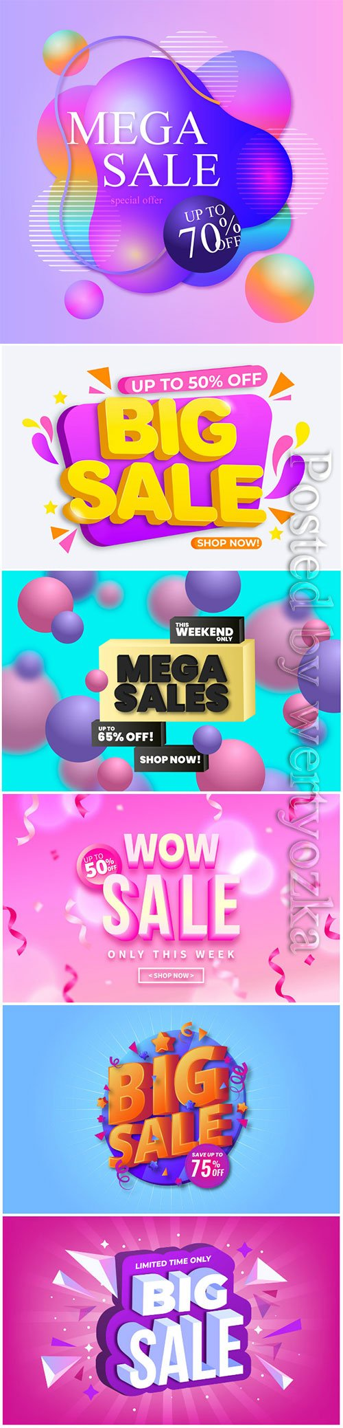 Colorful 3d sales vector background