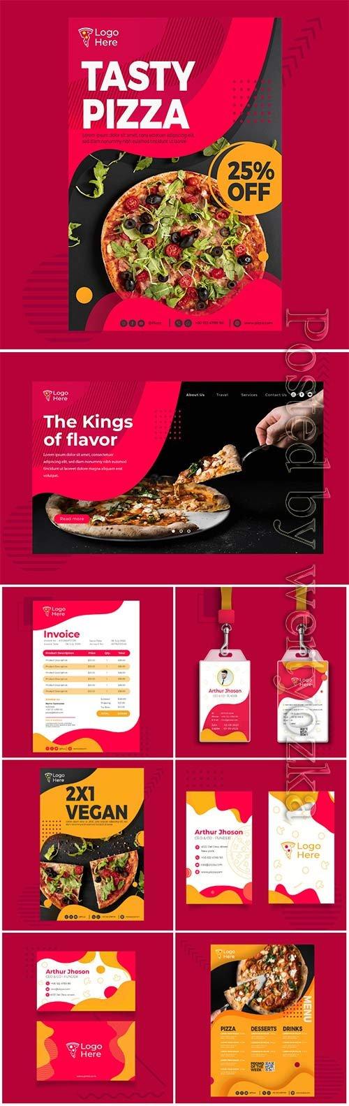 Menu vector template for pizza restaurant