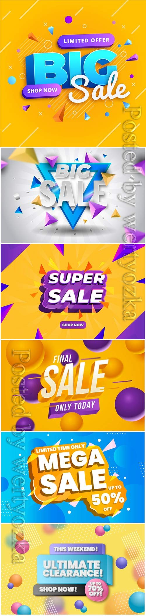 Colorful 3d sales vector background # 5