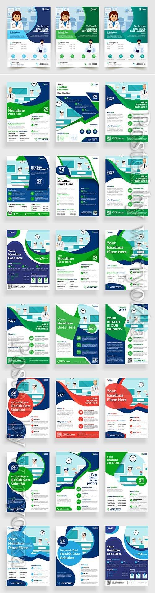 Medical flyer vector poster design layout background