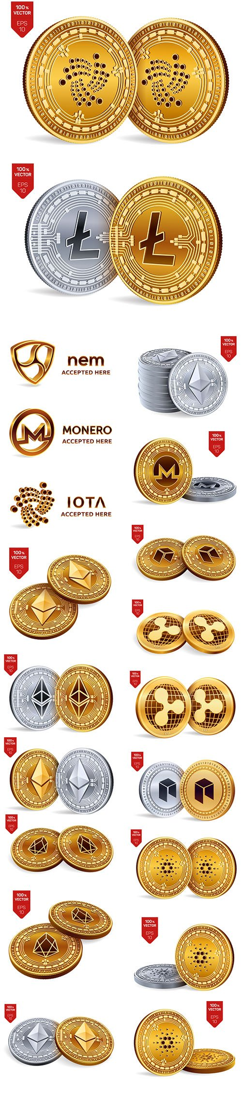 Cryptocurrency Golden and Silver Coins  Vector Background