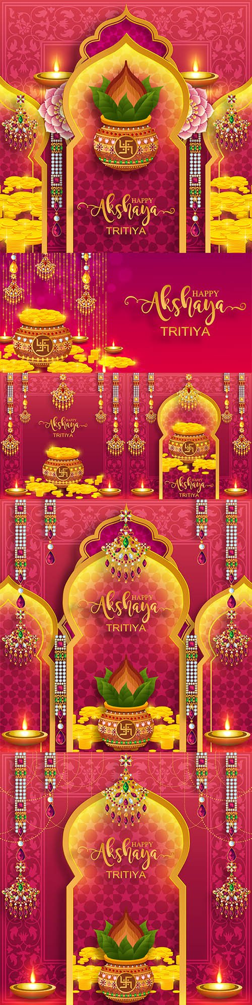 Happy Akshaya Tritiya festival decorative illustrations