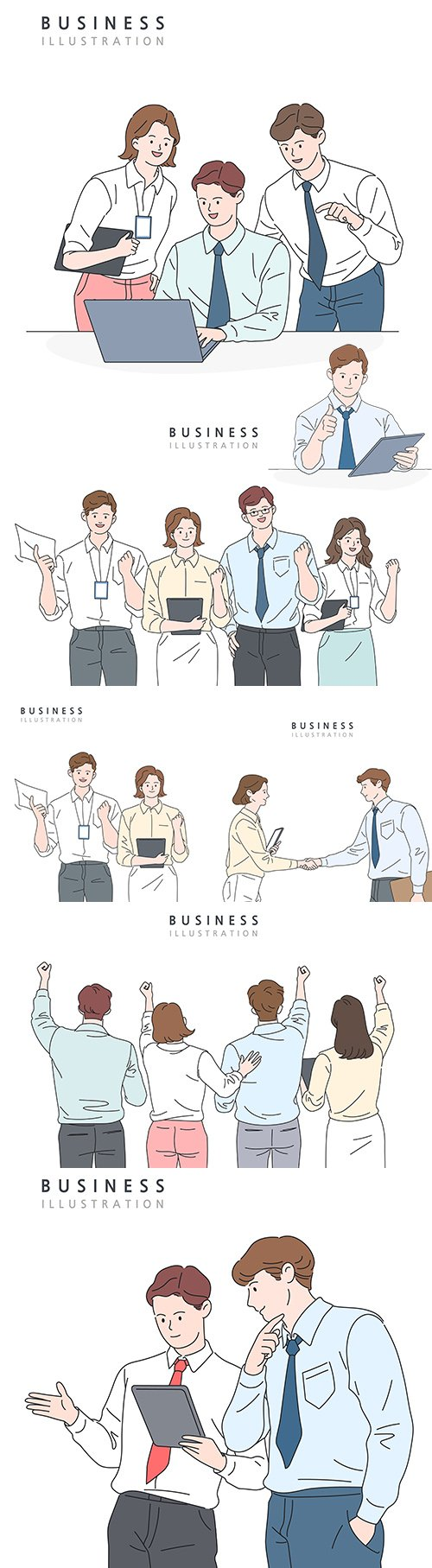 People in business clothes concept line illustration