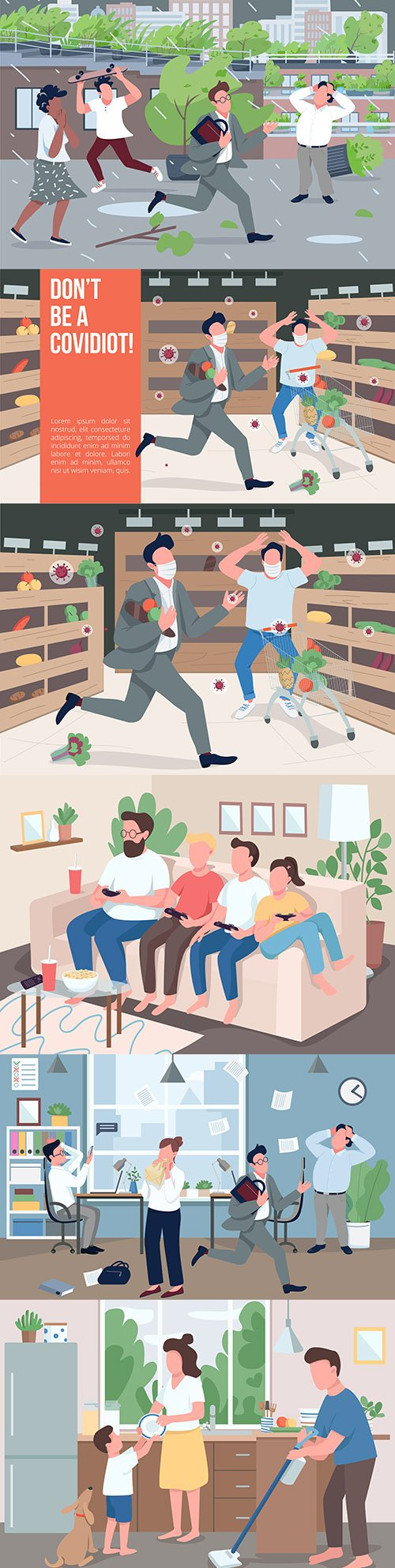 People in different situations at home and on walk illustration