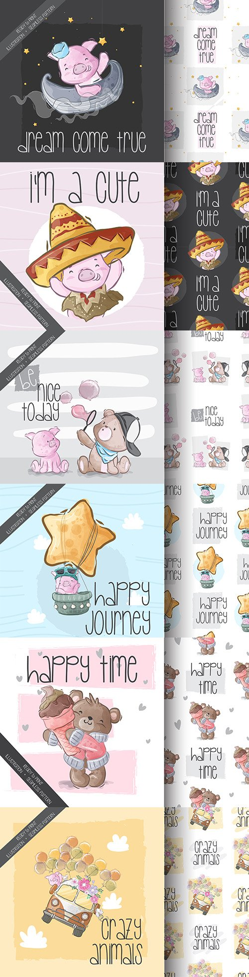 Cute cartoon animals and seamless background 21