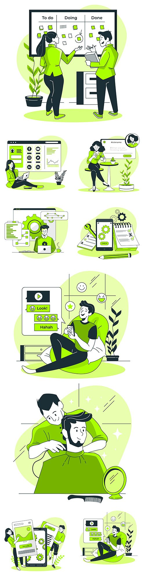 People in different situations and mobile illustration app
